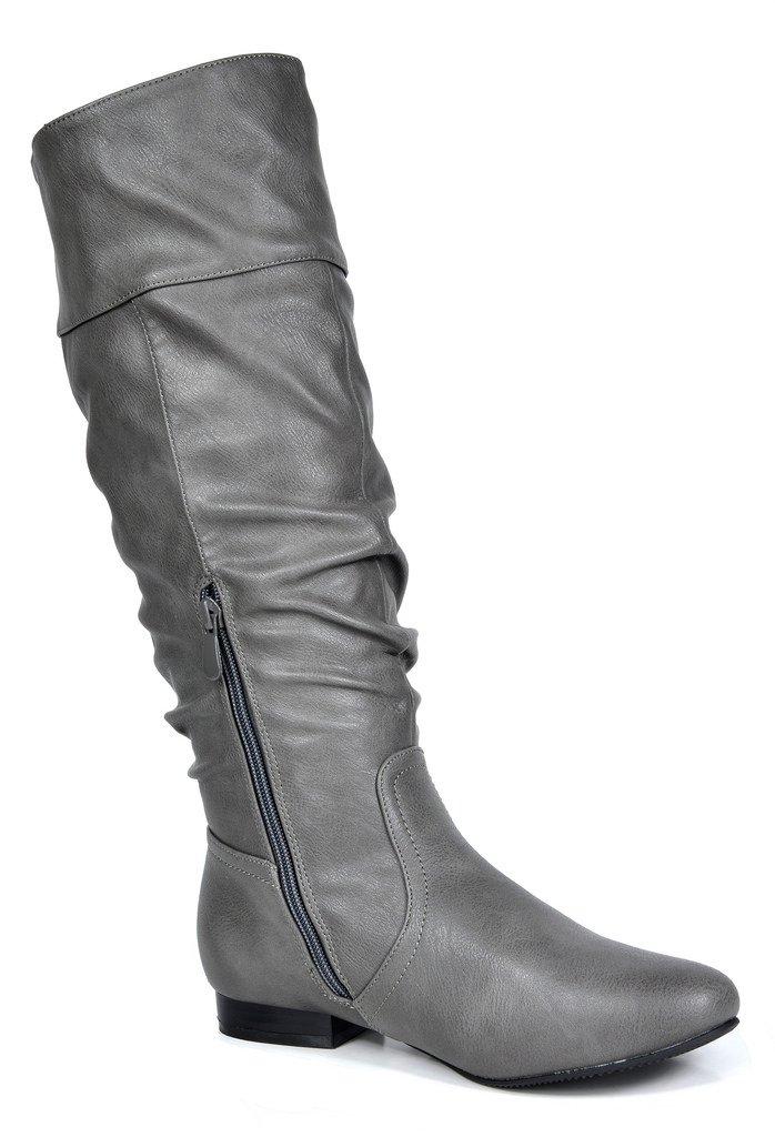 DREAM PAIRS Boots Women's Flat Knee High Boots PAIRS B071X75KGM 7 B(M) US|Grey Pu-wide Calf da4ba5