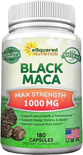 Pure Black Maca Root – 180 Capsules – Max Strength 1000mg Per Serving – Gelatinized Maca Root Extract Supplement from Peru – Natural Pills to Support Reproductive Health Energy – Non-GMO