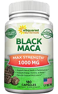 Pure Black Maca Root - 180 Capsules - Max Strength 1000mg Per Serving - Gelatinized Maca