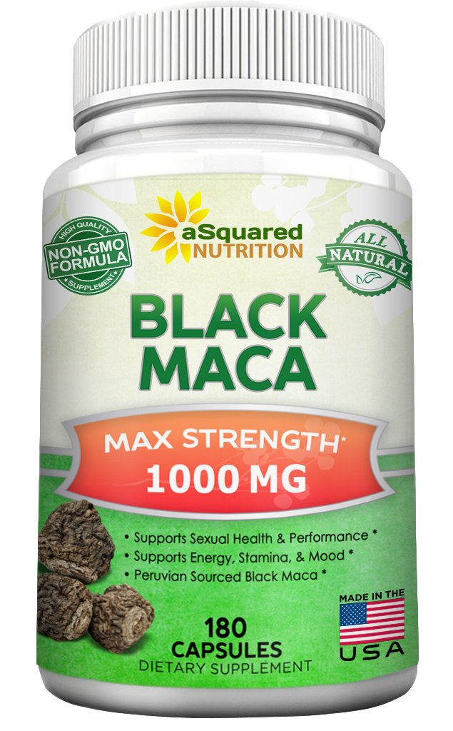 Pure Black Maca Root - 180 Capsules - Max Strength 1000mg Per Serving - Gelatinized Maca Root Extract Supplement from Peru - Natural Pills to Support Reproductive Health & Energy - Non-GMO by aSquared Nutrition