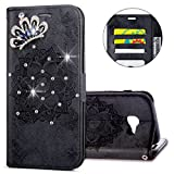 IKASEFU Galaxy A3 2017 A320 Case,Clear Crown Rhinestone Diamond Bling Glitter Wallet with Card Holder Emboss Mandala Floral Pu Leather Magnetic Flip Protective Cover for Samsung A3 2017,Black