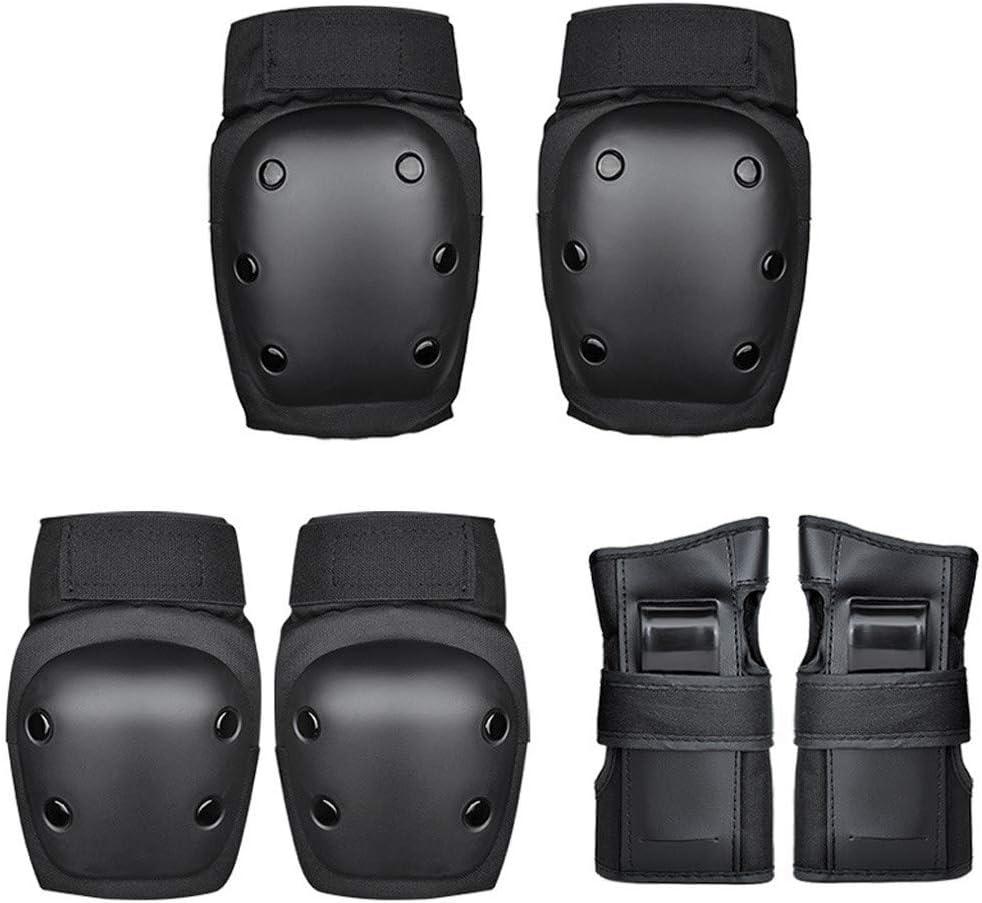 Clearance Sale Adult Bike Skateboard Protective Gear Set Black Men Women 6PCS Adjustable Helmet Knee Pads Wrist Guards Scooter Protective Gear Set for Weight Between 59-80KG