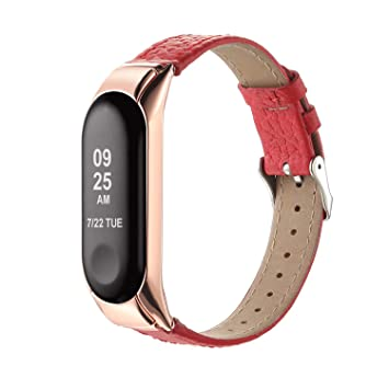 Hianjoo Compatible para Correa Xiaomi Mi Band 3, Cuero Pulsera Leather con Metal Case Banda Repuesto Fitness Sports Correas Brazalete Extensibles Band ...
