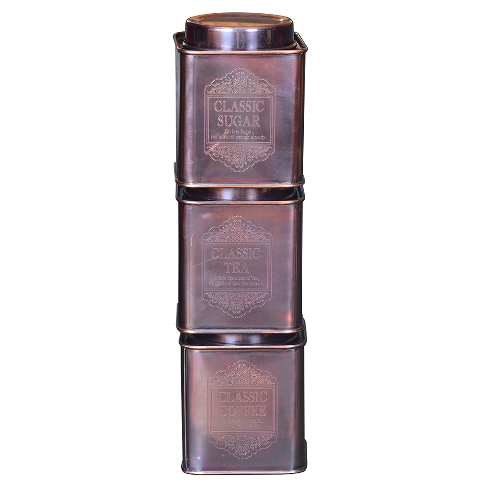 Kosma Set of 3Pc Stainless Steel Tea Sugar Coffee Canister (Square)-Classic 4'' (Copper Antique) by Kosma (Image #3)