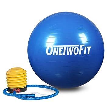 OneTwoFit Pelota de Yoga Extra Gruesa 85cm   Pelota de Ejercicios de  Equilibrio Antirrotura con Bomba 100b41d820f4