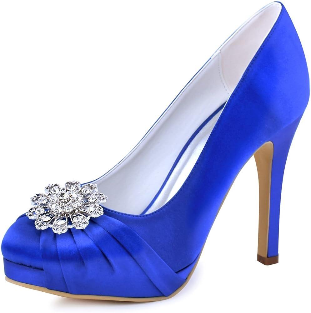 db8aef7be Elegantpark EP2015-PF Women Closed Toe Pumps Platform High Heels Court Shoes  Rhinestones Satin Wedding