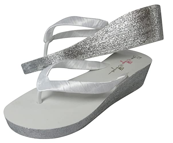 bf48b99d7 Image Unavailable. Image not available for. Color  Customizable White    Silver Glitter Hand Painted Wedge Flip Flops with 2 inch Heel