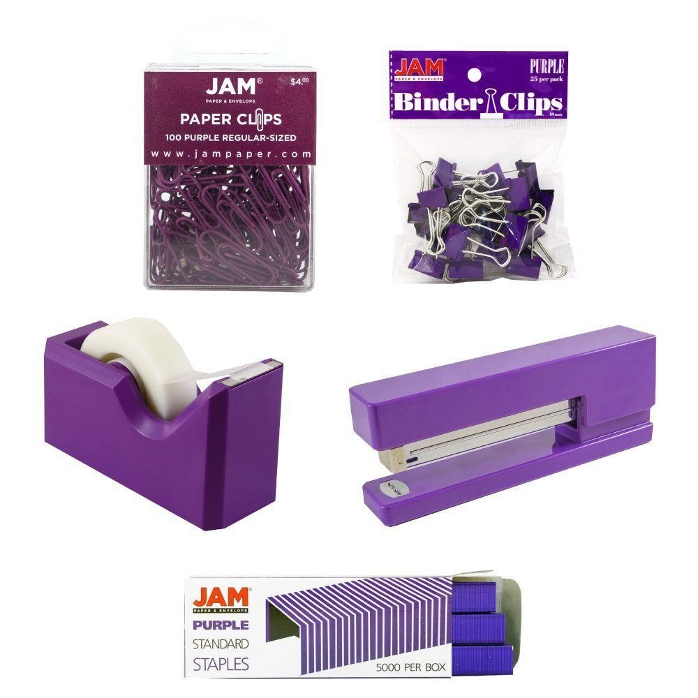 JAM PAPER Office Starter Kit - Purple - Stapler, Tape Dispenser, Staples, Paper Clips & Binder Clips - 5/Pack