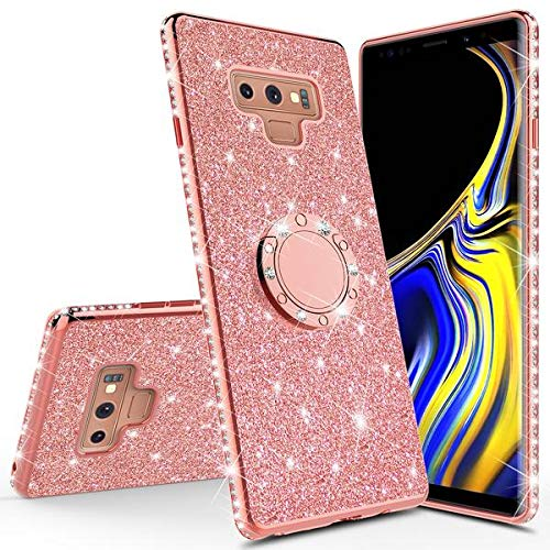 [Coverlab] Glitter Cute Phone Case Girls for Samsung Galaxy Note 9 Case with Kicktand,Bling Diamond Rhinestone Bumper Ring Stand Sparkly Luxury Clear Thin Protective Cover Girl Women (Rose Gold)