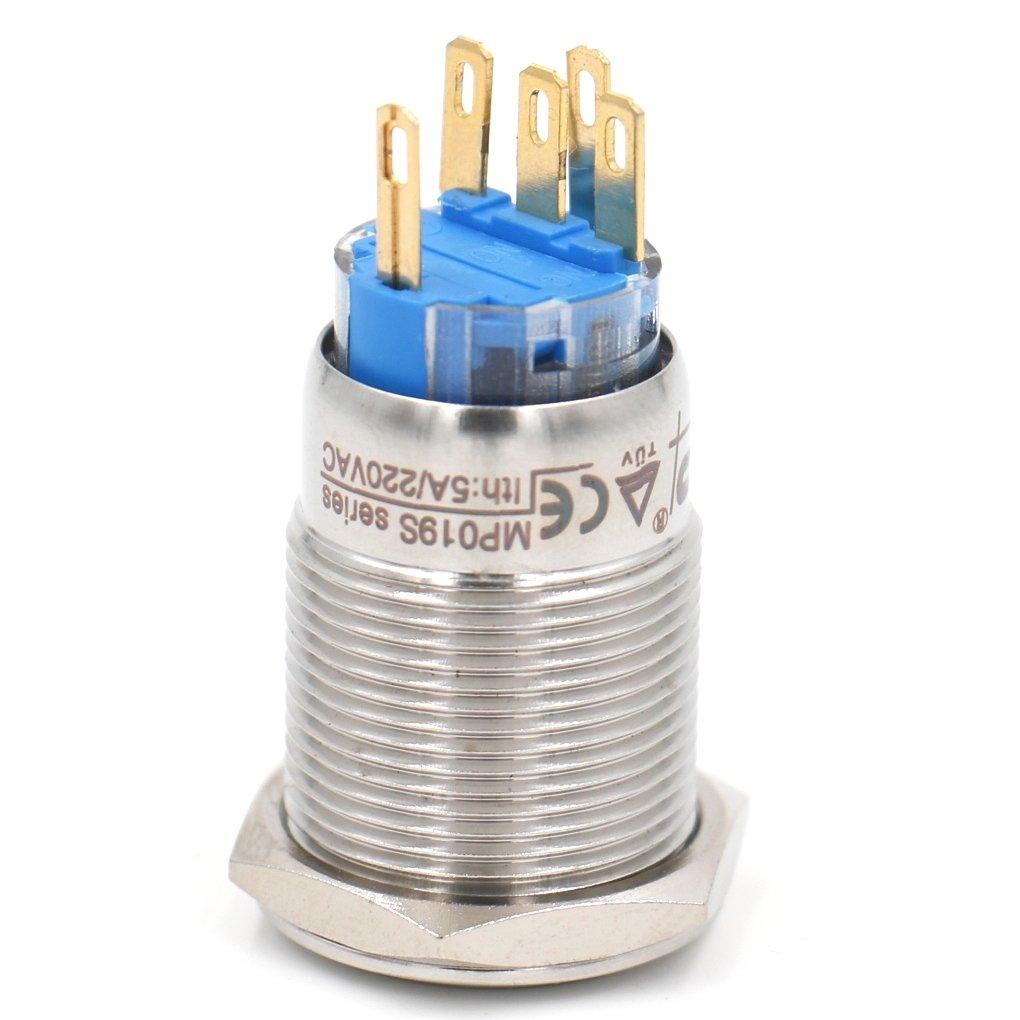 /à verrouillage Push Button Switch 220/VAC Eagle Eye LED verte IP67/5/A 220/VAC Heschen 19/mm en m/étal Maintenue 3//10,2/cm