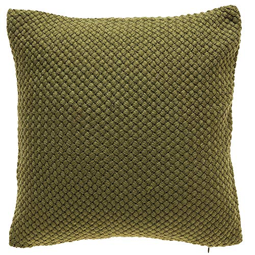TINA'S HOME Knitted Devorative Throw Pillows with Down Feather Insert | Cozy Accent Pillows for Living Room Couch Sofa Bed Decor (18x18, Olive Green)
