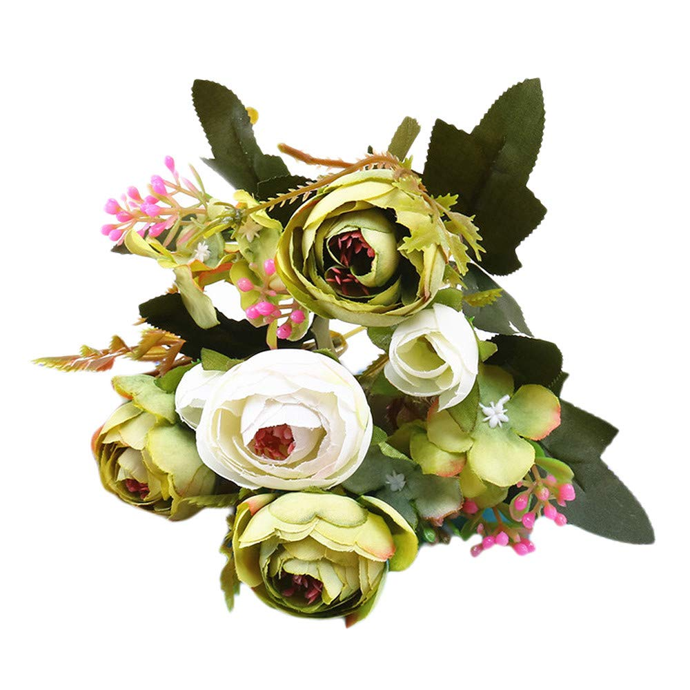 Artificial Flowers,Longay 1 Bouquet Vintage Artificial Peony Silk Flowers Bouquet for Decoration (Green)