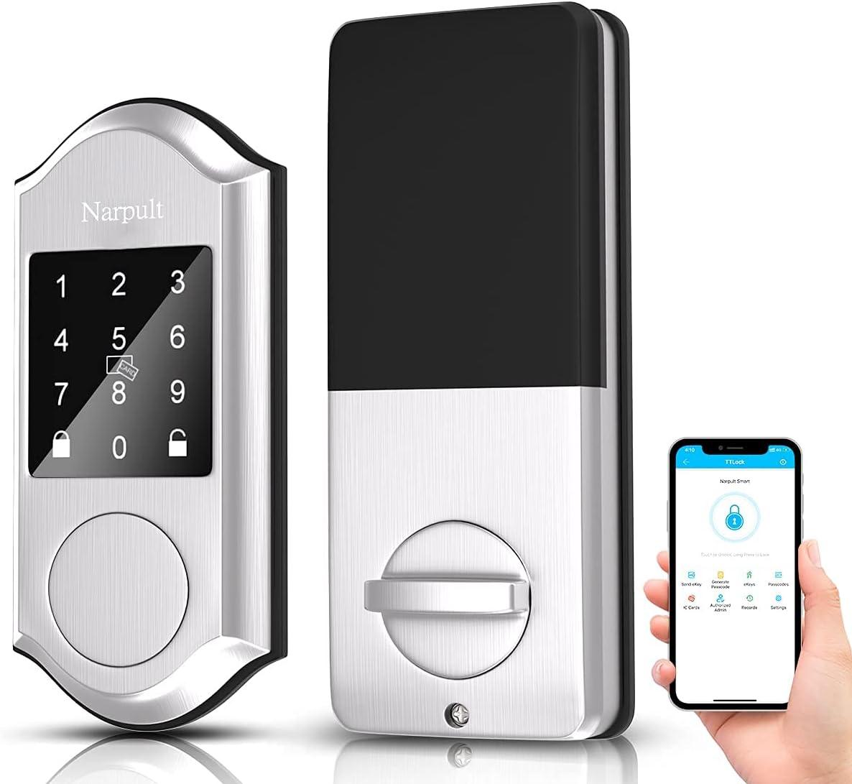 Narpult Smart Lock Deadbolt, Electronic Door Lock, No FingerprintKeyless Entry Door Lock, Compatible with Alexa, Google Assistant