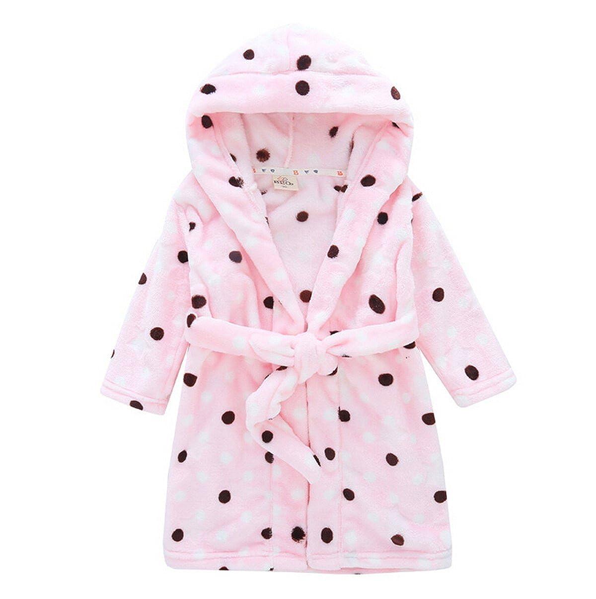 72b3582464 Amazon.com  Toddler   Kids   Baby Soft Fleece Warm Bath Robe Hooded Pajamas