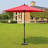 Magic Union Aluminum 9 FT Olefin Patio Umbrella Auto Tilt & Crank for Home Garden Patio with Cover (Red)(Base Not Included)