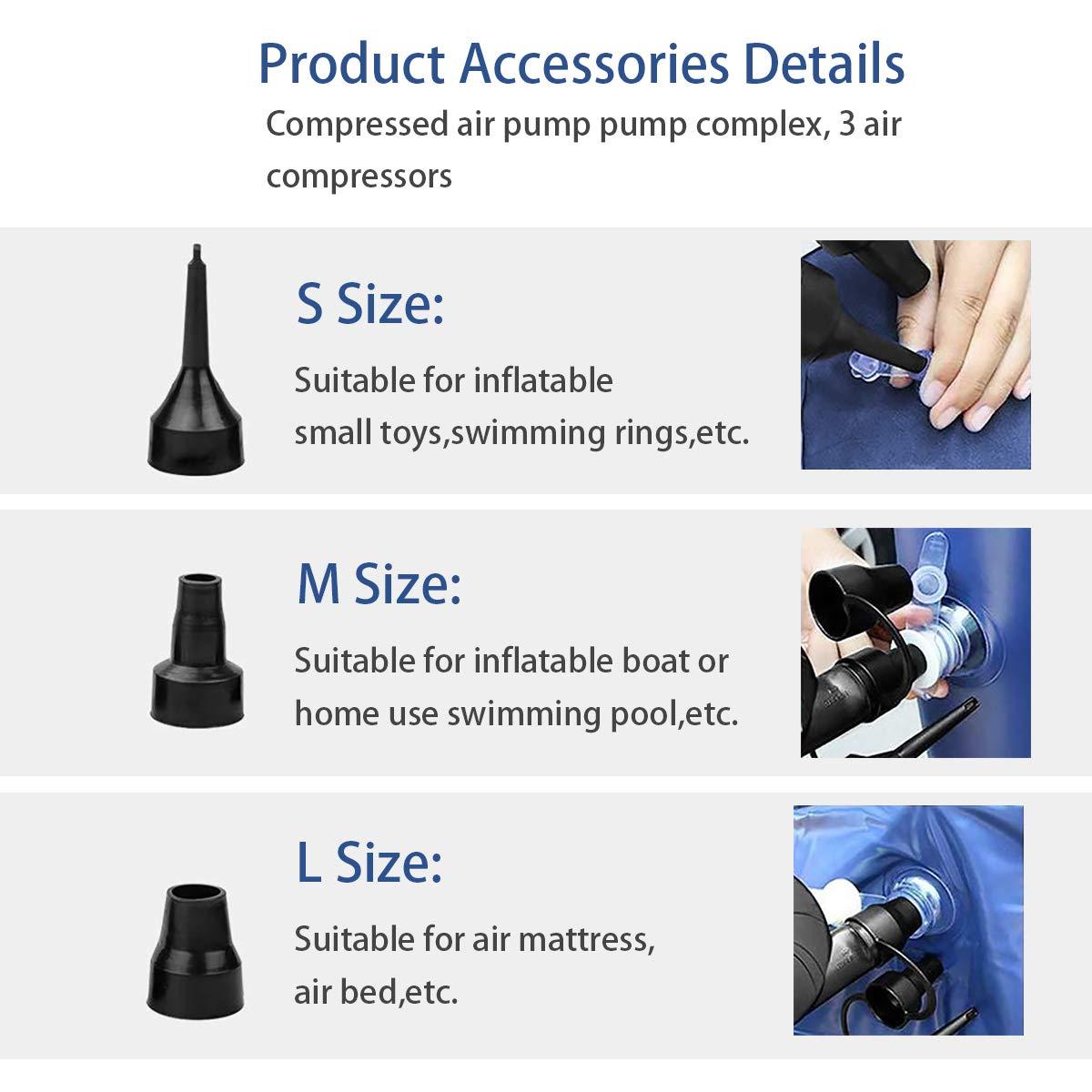MUEAST Elektrische Luftpumpe USB Luftmatratze Pumpe, 2 in 1 Elektropumpe Power Pump Inflator Deflator mit 3 Luftdüse für aufblasbare Matratze,Kissen,Bett,Boot,Schwimmring (Schwarz)