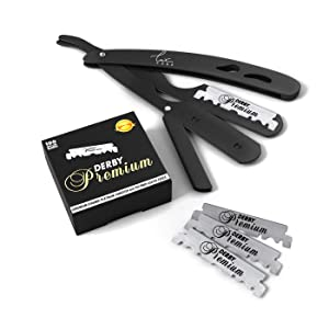 Professional Classic Straight Edge Razor – Professional Barber Razor with Level H and Grip – High Speed, Stainless Steel Straight Razor for Men Manual Shaver with 100 Derby blades - Professional Shave