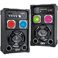 QFX SBX-61101 Cabinet Speaker with Built-in Amplifier - Pair (Black)