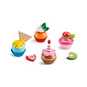 Hape Cupcakes | Colorful Wooden Cupcakes, Children'S Pretend Play Food Kitchen Toy