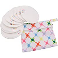 ALVABABY Rainbow Colorful Antibacterial Soft Bamboo Water Absorbent Nursing Pads for Breastfeeding Mothers, 4-Pairs 4R…
