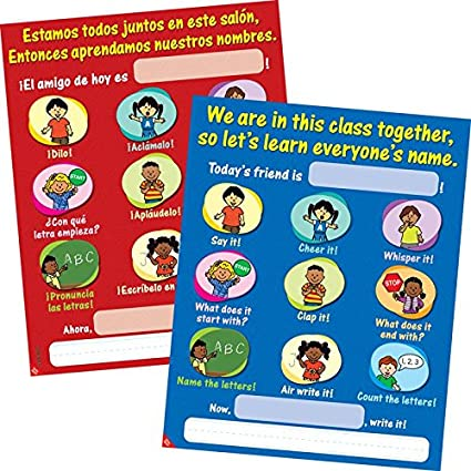 Amazon Com Our Class Names Poster English Spanish Home Kitchen
