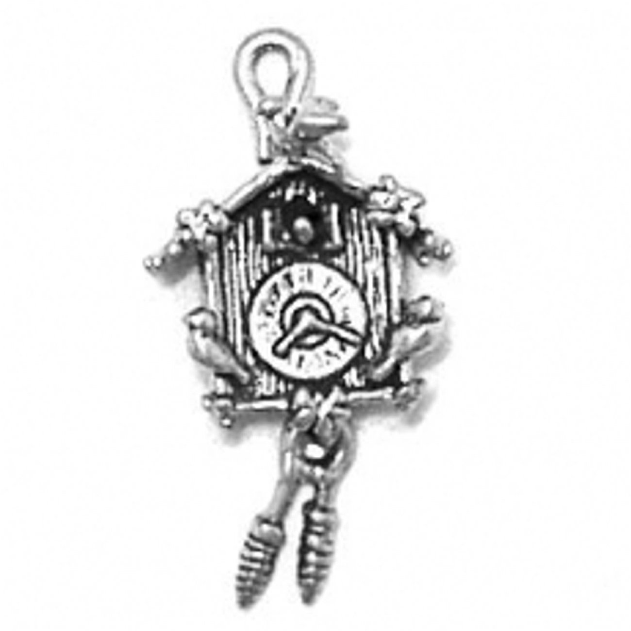 Sterling Silver Womens 1mm Box Chain 3D German Cuckoo Bird Clock Moving Weights Pendant Necklace