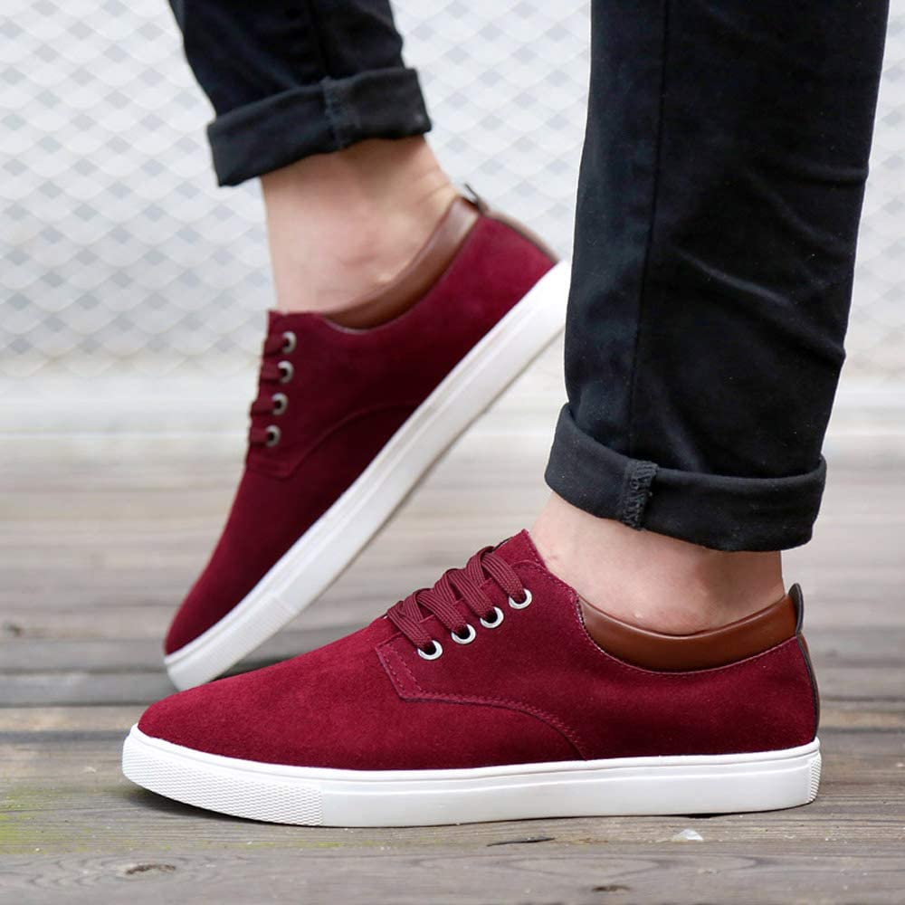 Asifn Mens Casual Suede Skate Shoes/Front lace-up Shock bsorption Wear-Resistant Fashion Business Leather Flat Shoes