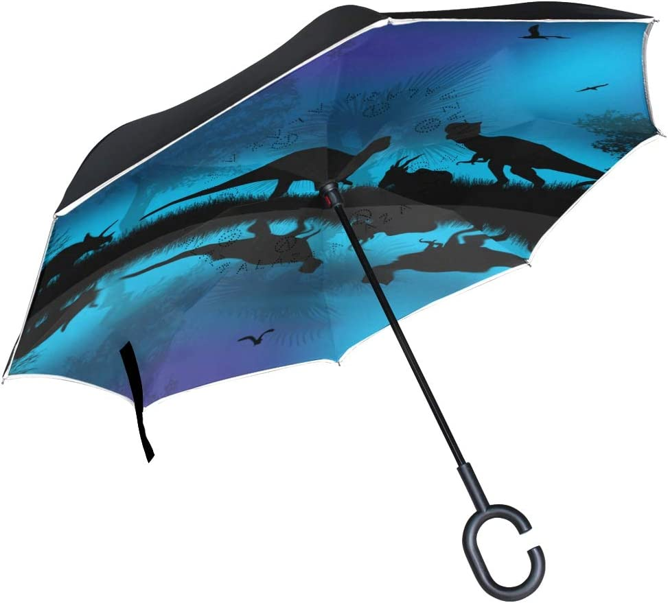 Dinosaurs Silhouettes In Beautiful Landscape Double Layer Windproof UV Protection Reverse Umbrella With C-Shaped Handle Upside-Down Inverted Umbrella For Car Rain Outdoor