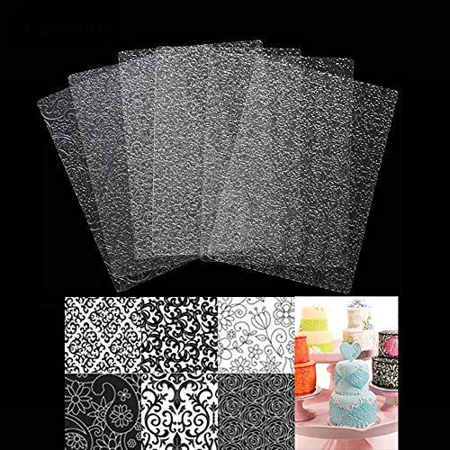 WElinks 6Pcs Plastic Fondant Stencil Cake Cookies Tyre Pattern Texture Mat Cake Baking Embossing Pad Cake Border Decoration Mold Cake Fondant Stencil Templates Crafts DIY Decorating Tools (1#)