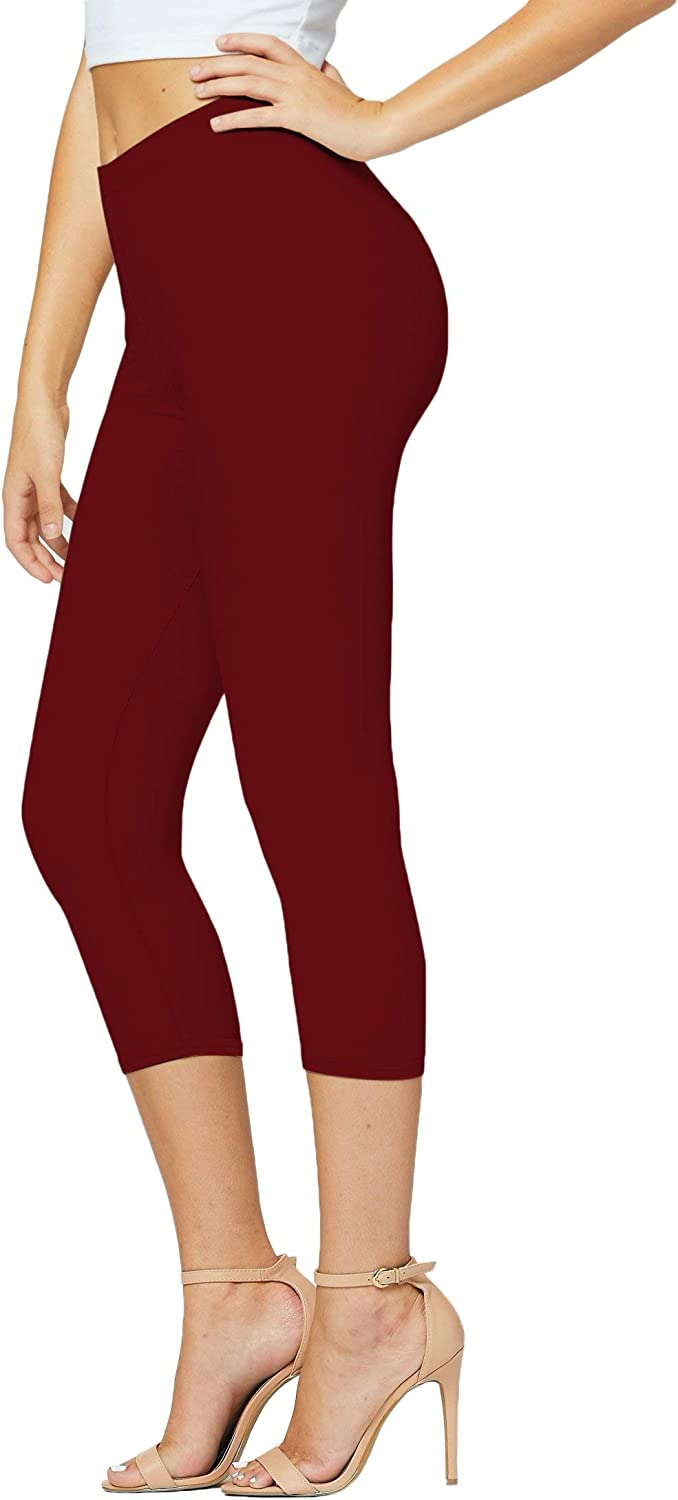 Premium Ultra Soft Womens High Waisted Capri Leggings in Solids and Prints - Cropped Length - Solid Burgundy - One Size