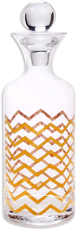 Denizli Spirits 'Chevron' Whiskey Bottle Handmade Crystal Decanter with 24K Gold Ornament 30 Oz - Lead Free
