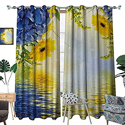 RenteriaDecor Yellow and Blue Window Curtain Drape Romantic Bouquet of Hydrangeas and Asters on Water Background Decorative Curtains for Living Room W72 x L96 Violet Blue Earth Yellow