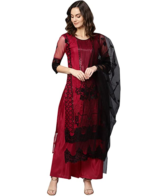 Ishin Net Burgundy Embroidered Unstitched Salwar Suits dress material with Dupatta