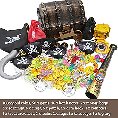 Pirate Treasure Chest Box 197 PCS Kids Pirate Toys Play Set for Pirate Party Storage Treasure Chest with Gold Coins Gems Banknotes Earrings Rings Telescope Patches Money Bags Compass Locks Keys: Toys & Games