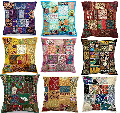 "10pc Embroidered Sari Patchwork Cushion Cover , 17x17"" Indian Ethnic Pillow Covers , Handmade Patchwork Cushion Pillow , Sari Patch Throw Pillow"