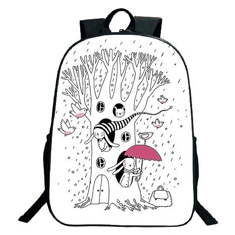 5354b1e4803a Amazon.com: 3D Print Design Black School Bag,backpacksMagical ...