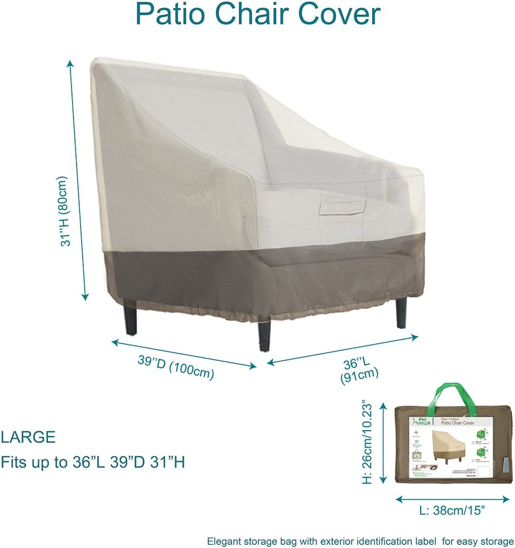 Large PHI VILLA Patio Lounge Chair//Club Chair Cover L36 x D39 x H31 Durable Waterproof Outdoor Furniture Cover
