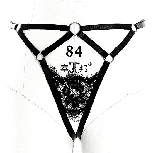 e86164bf0a3 Image Unavailable. Image not available for. Color  PETMHS Strappy Body  Harness Leg Garter Belt Women Goth Elastic High Waist Suspender ...