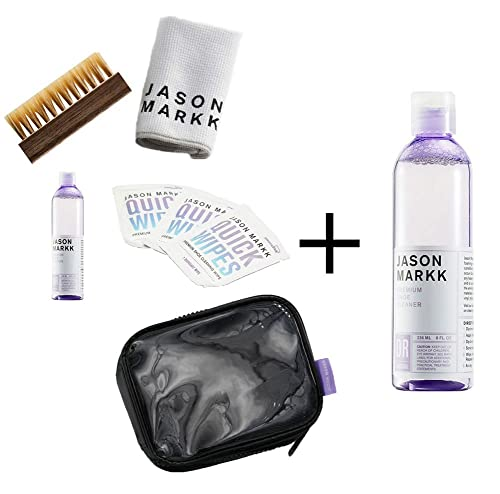 Jason Markk Travel Shoe Cleaning Kit and Premium Shoe Cleaner 8oz (Bundle) uCkGws6x