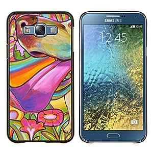 Pintura colorida perro Hocico de Verano- Metal de aluminio y de plástico duro Caja del teléfono - Negro - Samsung Galaxy E7 / SM-E700