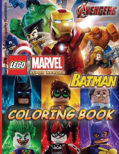 Lego MARVEL AVENGERS & BATMAN Coloring Book: for Kids, for boys & girls (34 high-quality Illustrations)]()