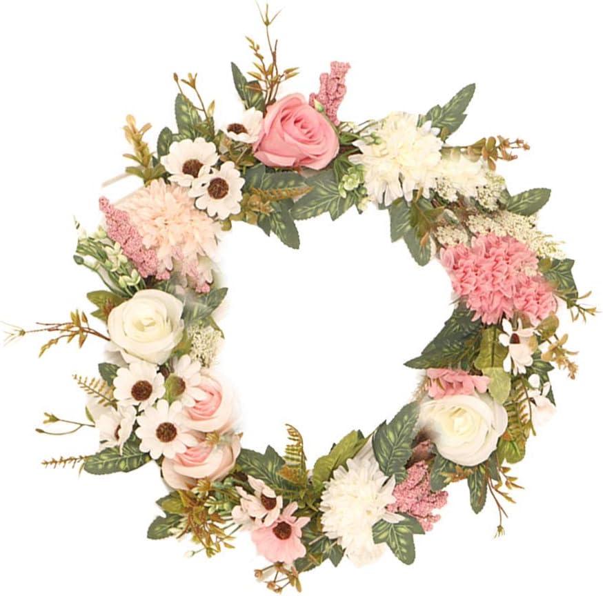 HEWEI Simulated Crabapple Rose Wreath Garland Pendant Wreath Wedding Pendant Decorative Door Ornament Garland (Pink)