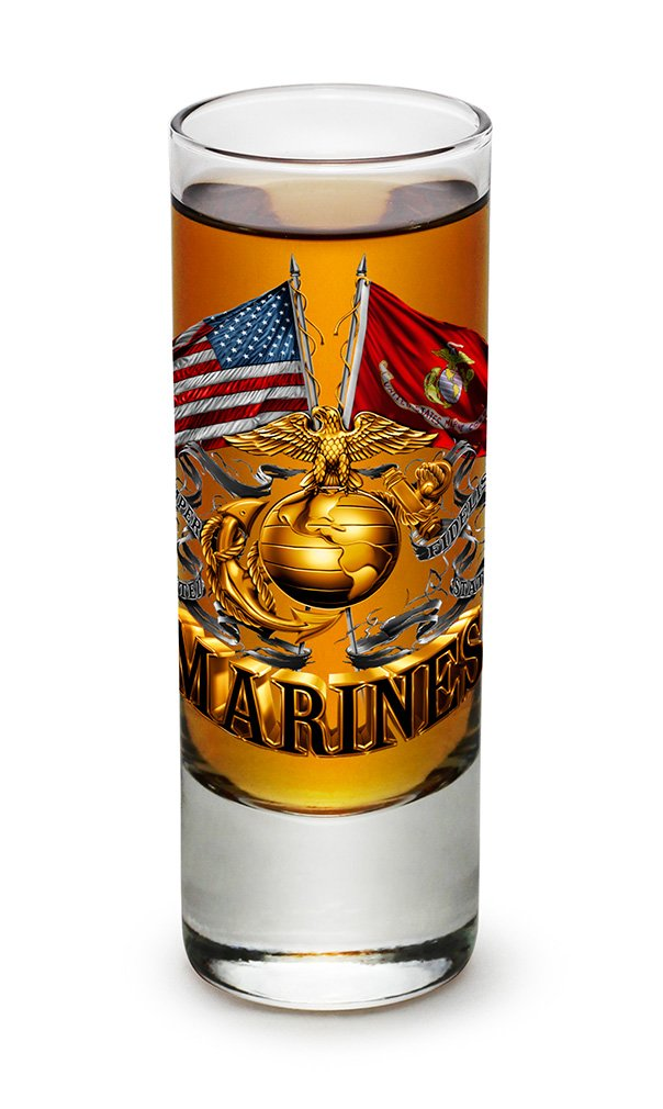Shot Glasses – US Marine Corps Gifts for Men or Women – Double Flag Gold Marine Corps Shot Glasses – USMC Glass Shot Glasses with Logo - Set of 48 (2 Oz)