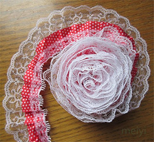 5 Meters 2-Layer Pleated Organza Dot Lace Edge Gathered Mesh Trim Ribbon 5 cm Width Vintage Style Red Edging Trimmings Fabric Embroidered Applique Sewing Craft Wedding Dress DIY Clothes Embellishment
