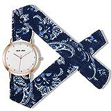 Womens Cloth Cotton Interchangeable Flower Band Diamonds Dial Rose Gold Dress Bracelet Watches (dark blue)