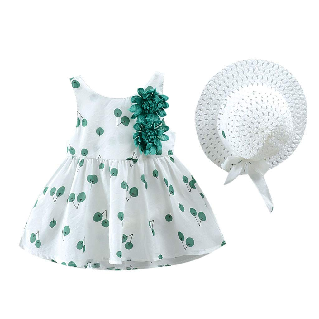 Babymode,Lookhy Kleinkind Kind Baby M/äDchen Kirsche Gedruckt Prinzessin Kleid Hut Outfits Set Kleidung Baby Partykleid Festliches Kost/üm Baby Stilvoll S/ü/ß Kleidung