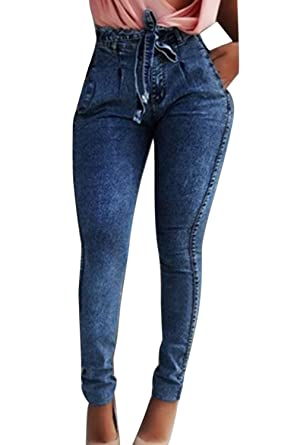 Nimpansa Mujer Pantalones Vaqueros Casuales Paper Bag Largos Cintura Alta Cinturón Skinny Denim Jeans