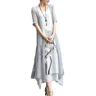 6fbacae2f64 Honwenle Women s Two piece Retro Round Neck Asymmetric Hem Color Block  Printed Long Cotton Linen Maxi