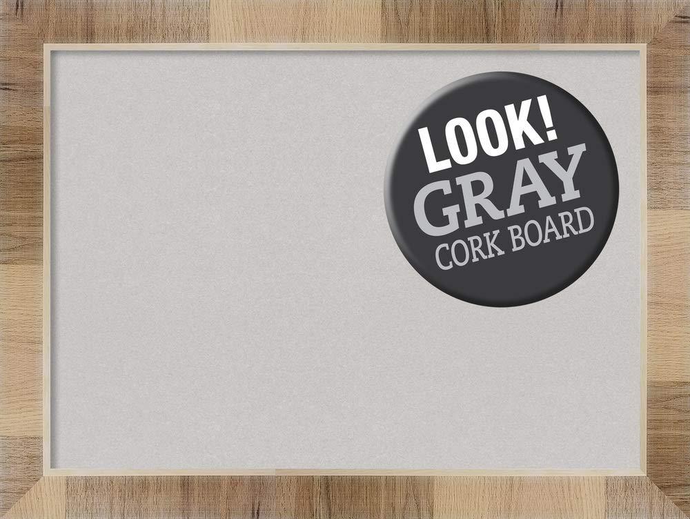 Amanti Art Grey Cork Natural White Wash Framed Bulletin Boards, Size 28x20