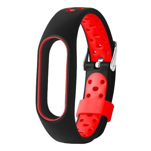 Lomire Correa de Muñeca Silicona de Reloj Universal Pulsera Impermeable Ligero Ventilar para Xiaomi MI Band 2 para Hombre y Mujer,Rojo: Amazon.es: Relojes